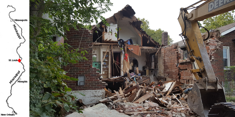 In an effort to improve water quality in the nearby Mississippi river, St. Louis is demolishing old vacant homes. The razed lots become 'sponges' to absorb untreated rainwater. (Zach Dyer/for WHYY)