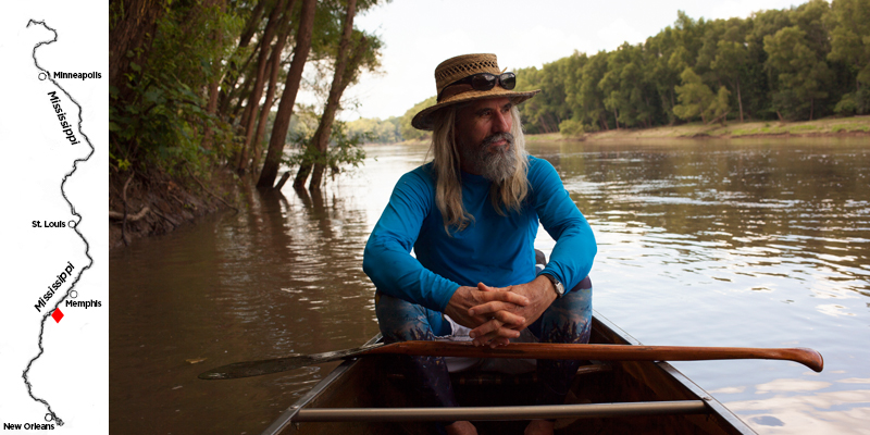 John Ruskey is a canoe builder and river guide in Clarksdale, Mississippi. He's made it his mission to get people on the river and show them the Mississippi's beauty. He hopes that ultimately will lead to conservation of the remaining wild parts of the river. (Irina Zhorov/WHYY)