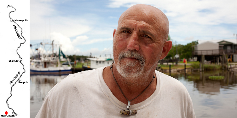 Captain Jason Dempster mans a shrimp boat in the brackish waters where the Mississippi River meets the Gulf of Mexico, as well as in the Gulf itself. He says sometimes, when fishing the Gulf, he enters a 'dead zone.' When he lowers a net in the water, nothing comes up. (Irina Zhorov/WHYY)