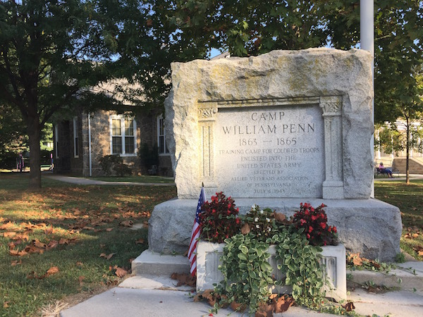 The stone commemorates the site of Camp William Penn